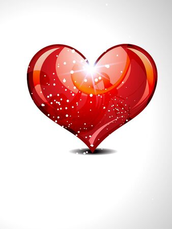 abstract glossy heart with sparkle vector illustration