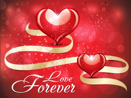 abstract glossy love card design with sparkle vector illustration  Illustration