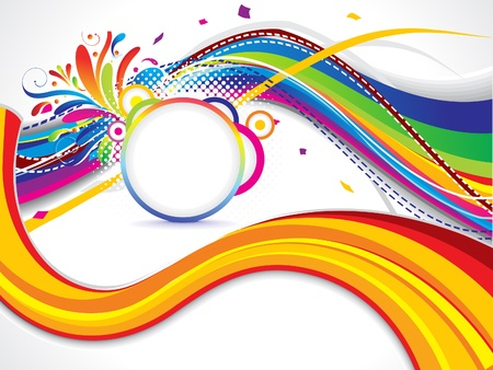 abstract colorful wave background with floral vector illustration Stock Vector - 17907973