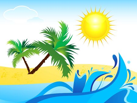 abstract summer background with water wave vector illustration  Vector