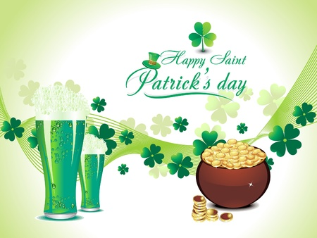 abtract green clover background with beer vector illustration  Vector