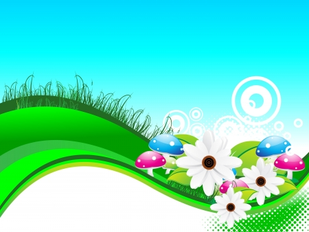safe water: abstract summer background with flower vector illustration