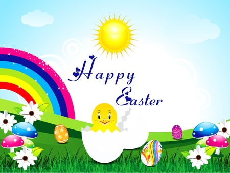 abstract easter background with rainbow Vector