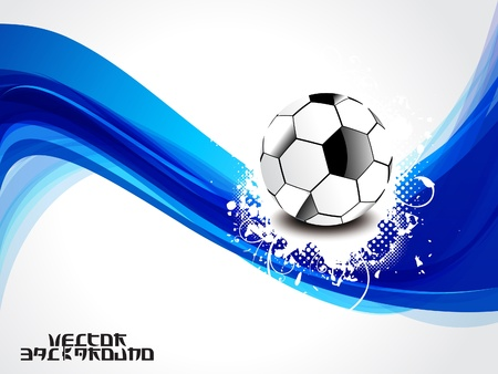 grung: abstract blue wave background with football vector illustration Illustration
