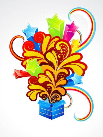 abstract explode magic box with floral illustration Stock Vector - 18758416