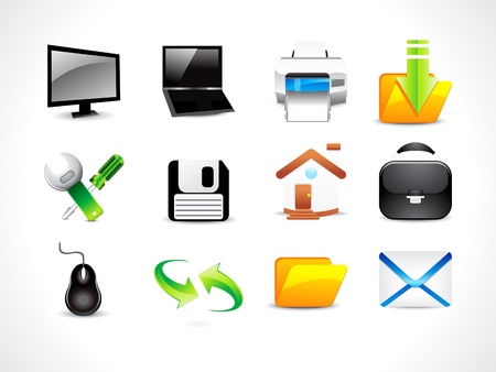 web cam: abstract glossy computer icon set illustration
