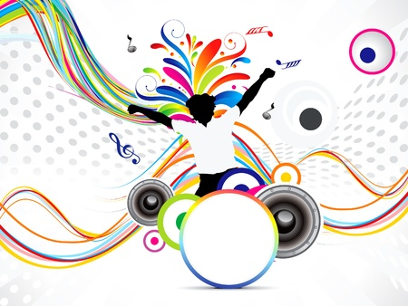 abstract music background with floral illustration Vector