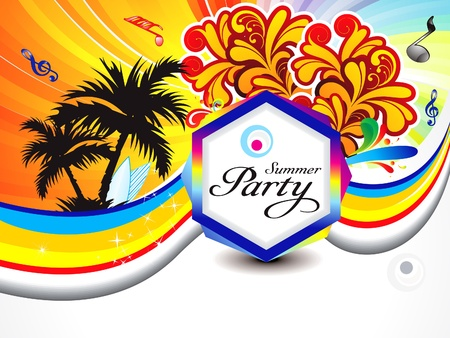 dj boy: abstract colorful summer backgroudn with wave illustration