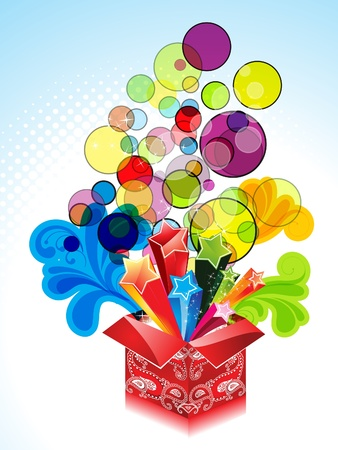 abstract explode magic box with floral illustration  Vector