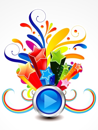 celebrate life: abstract colorful exploade play button vector illustration