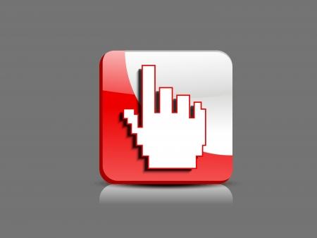 abstract glossy  hand cursor button vector illustration Stock Vector - 19610962