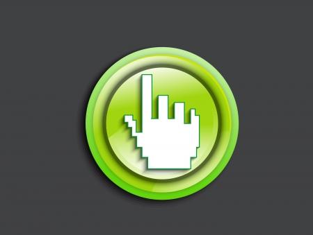 abstract glossy hand cursor icon vector illustration Stock Vector - 19757711