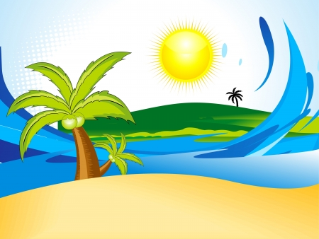 coconut tree: abstract summer background with coconut tree vector illustration