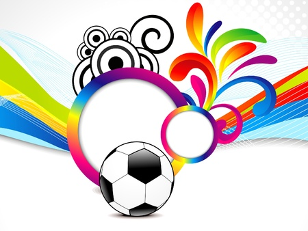 doted: abstract colorful wave background with football illustration
