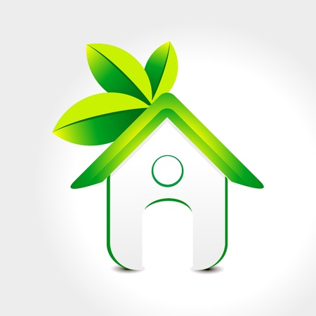 abstract green home icon with leaf illustration  Vector