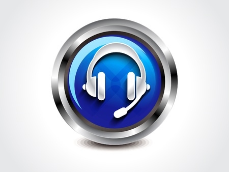 ear phones: abstract glossy head phone button illustration