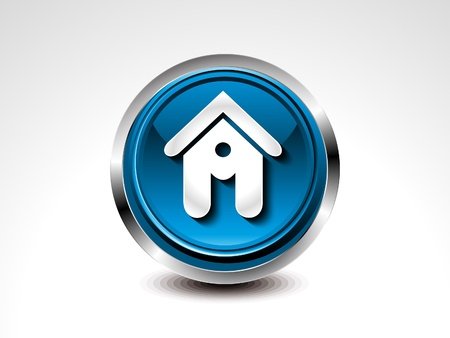 abstract blue glossy home button  illustration   Vector