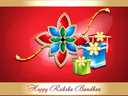 raksha: abstract raksha bandhan background with gifts  illustration