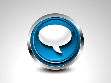abstract blue glossy chat button  illustration  Vector