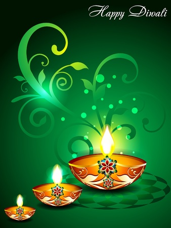 Green Diwali Background with floral illustration  Vector