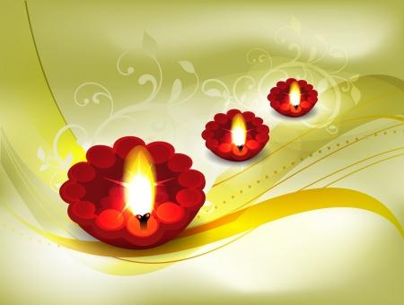 deepak: Golden Diwali Card Design illustration