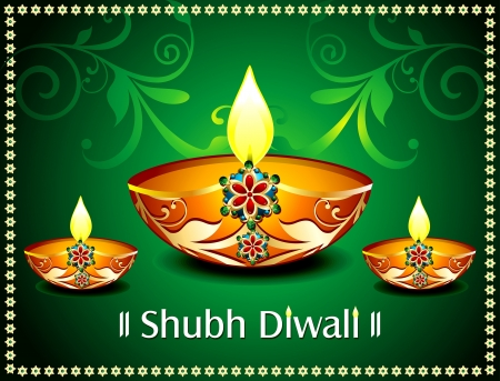Diwali Card With floral Vector illustration Stock Vector - 22151537