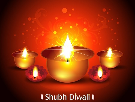 divinity: Diwali Background with Deepak Set Vector illustration