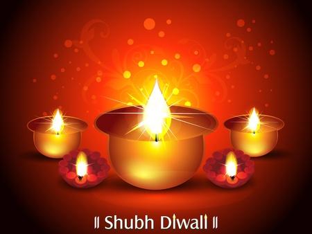 deepak: Diwali Background with Deepak Set Vector illustration