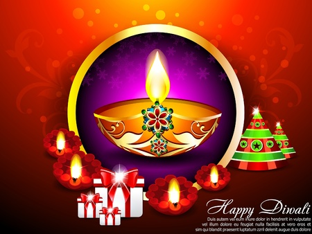 deepawali backdrop: Diwali Background with gifts Vector illustration
