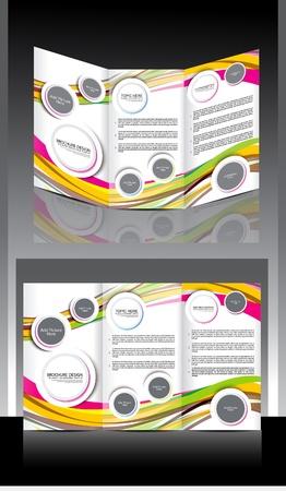 Tri Fold Wave Brochure Design Vector illustration Stock Vector - 22151553