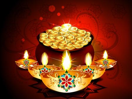 deepak: Diwali Background With Deepak Set illustration  Illustration