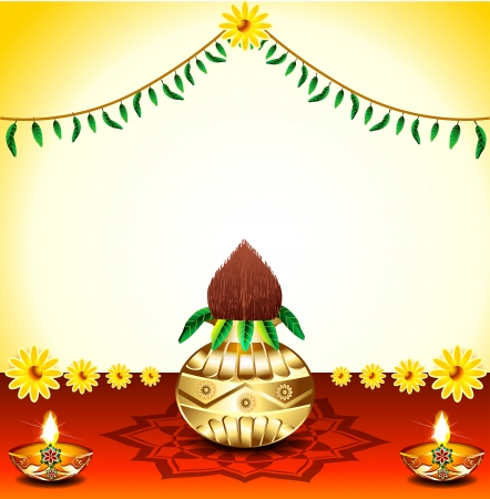 Festival Background With Kalash  illustration  Vector