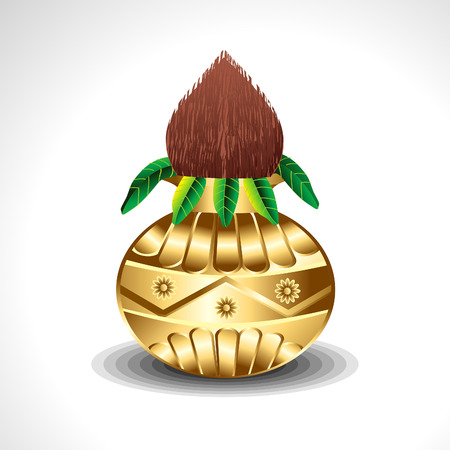 kalasha: Golden Kalash With Coconut Vector illustration