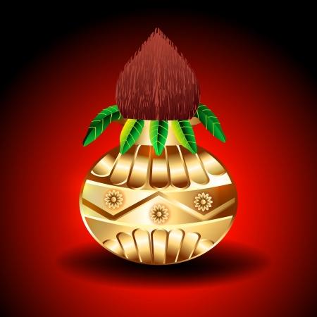 Vector Golden Kalash illustration