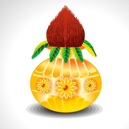 Kalash With Mango Leaf illustration  Vector