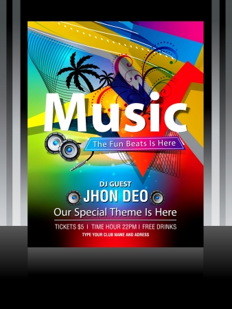 Colorful Music Flayer Design vector illustration  Illustration