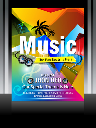 Vector music flyer design Vector illustration