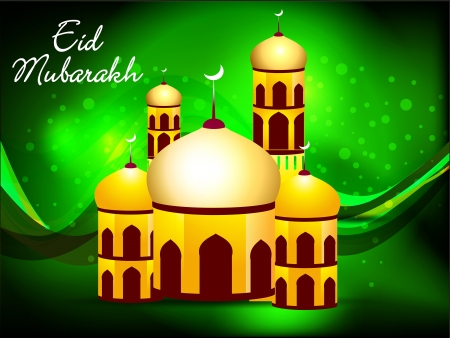 chand: green eid background vector illustration  Illustration