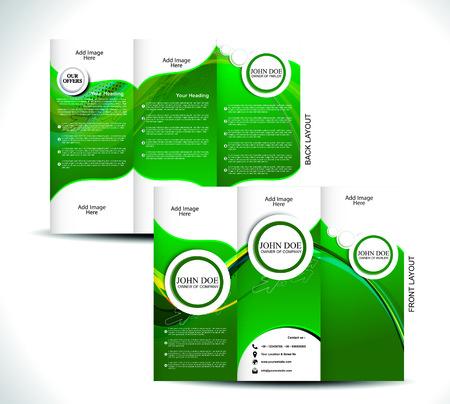 tri: Green Tri Fold Brochure Design Vector illustration  Illustration