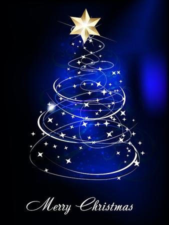 xmas linework: Blue Christmas Tree Background vector illustration