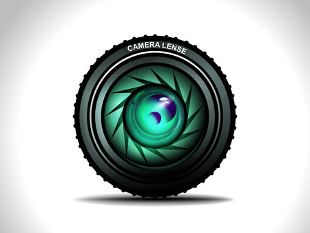 shutter aperture: Vector Camera With Colorfull Lens Vector Illustration