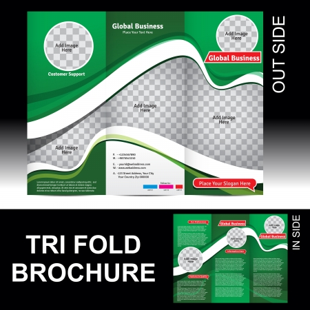 tri fold: Tri Fold Global Business Brochure Vector illustration
