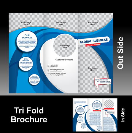 tri fold: Tri Fold Blue Wave Brochure Vector Illustration