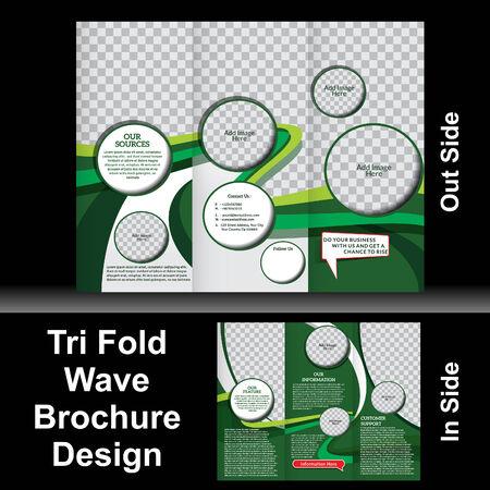 tri: Tri Fold Wave Brochure Vector illustration  Illustration