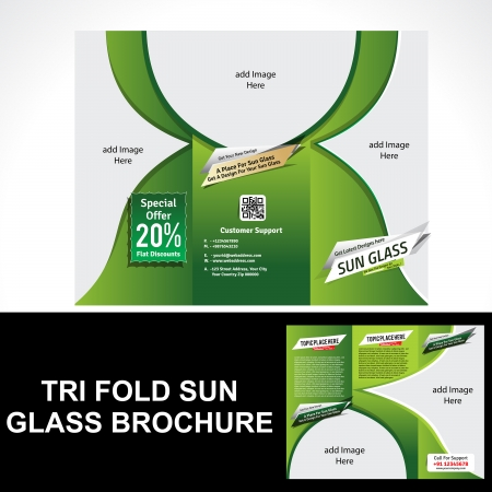 Tri Fold Sun Glass Brochure Vector illustration  Vector