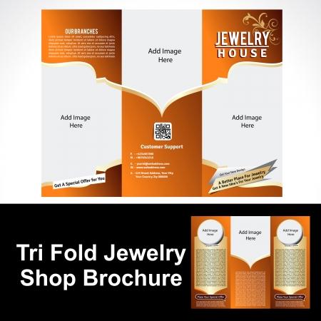 Tril Fold Sieraden Shop Brochure Vector illustratie Stock Illustratie