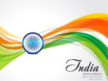 bandera de LA INDIA: Resumen día Iindependence Antecedentes ilustración vectorial Vectores