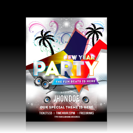 New Year Party Flyer Design Vector Illustration Vector