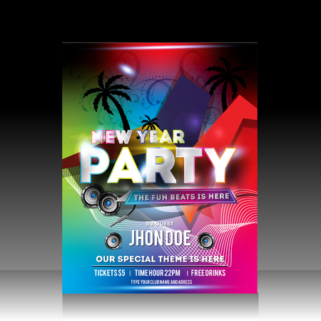 Vector Colorful New Year Party Flyer Vector illustration Vector