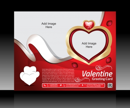 Valentine Day Flyer Template Vector illustration  Vector